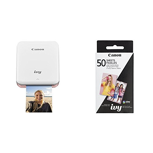 Canon IVY Mobile, Portable Mini Photo Printer, Rose Gold with Zink Photo Paper Pack, 50 sheets