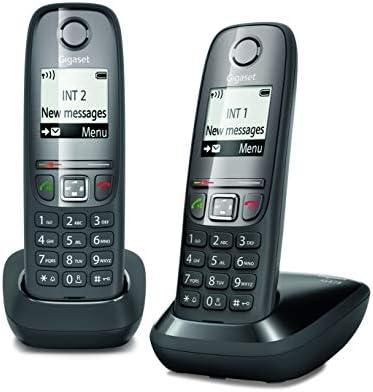 Gigaset AS 475 Duo Teléfono inalámbrico, Llamadas Entre Interior/interfono, Agenda Personalizable, Transferencia de Llamadas, Negro [Italia]