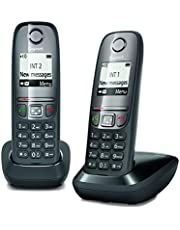 Gigaset AS475 Duo, twee draadloze telefoons, oproepen tussen binnen/intercominstallatie, personaliseerbaar telefoonboek, oproepoverdracht, 1,8 inch B/N, zwart [Italië]