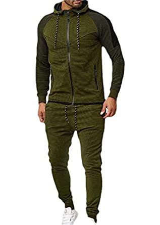 Mens Tracksuit Running Jogging Athletic Sports Jacket and Pants Set Striped Patchwork 2 Pieces Sets Army Green 2XL