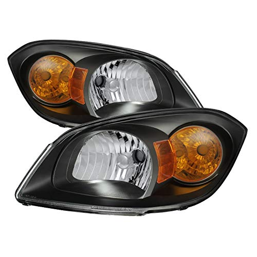 For 2005-2010 Cobalt, 2007-2009 G5, 2005-2006 Pursuit Black Headlights Front Lamps Pair Left+Right/2006 2007 2008 2009