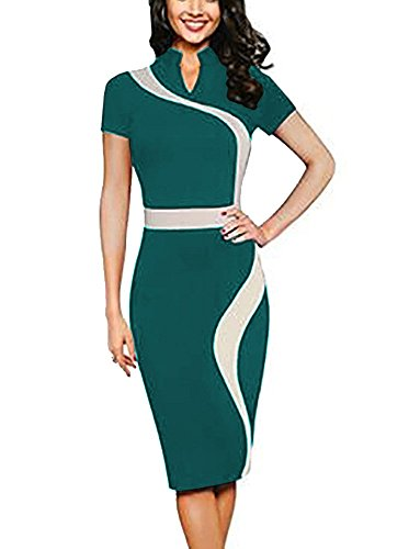 REPHYLLIS Women Elegant Wear to Work Casual Cocktail Evening Party Summer Business Pencil Dress Green M