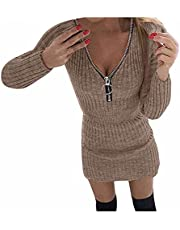 HHWY Winterjurk voor dames, lange mouwen, warme gebreide jurk voor dames, winter, elegant, effen, V-hals, sexy, nauwsluitend, korte mini-jurk met ritssluiting, pulloverjurk, partyjurk, avondjurk, cocktailjurk
