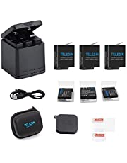 TELESIN Triple Charger Battery Kit, Battery Storage Charging Box with 2 Battery Pack Rechargeable Battery Replacement for GoPro Hero 2018, Hero 7 Hero 6 Hero 5 Black Action Camera (Charging Box+2 Battery)