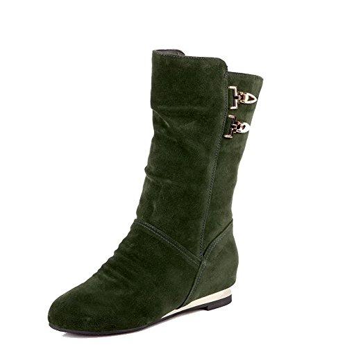 AgooLar Women's Pull-On Frosted Round-Toe Kitten-Heels Solid Boots Green JV2gceit0