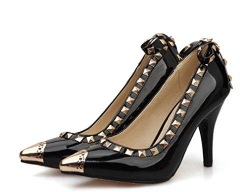 Königin Frau Farbe Party Schuhe A Braut Sandalen Wies Heels High Hochzeit Tanz Sexy 3 Heels LUCKY Mädchen CLOVER Rivet Mid Black 6gPqHv