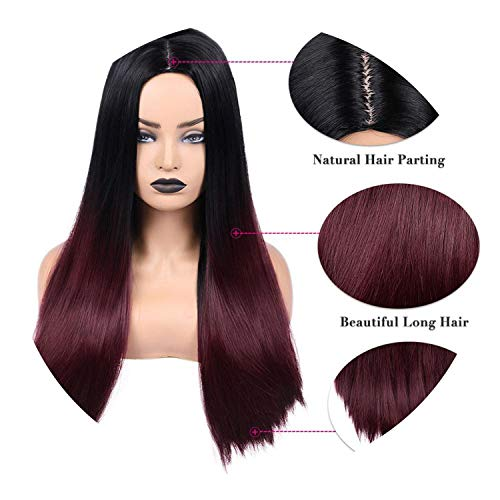 Long Straight Hair Synthetic Wig For Women Ombre Ash Blonde/Brown Natural Hair Heat Resistant For Daily/PartyWig,T1B/Burgundy,24inches]()
