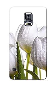 Forever Collectibles White Tulip With Water Drops Hard Snap-on Galaxy S5 Case With Design Made As Christmas's Gift