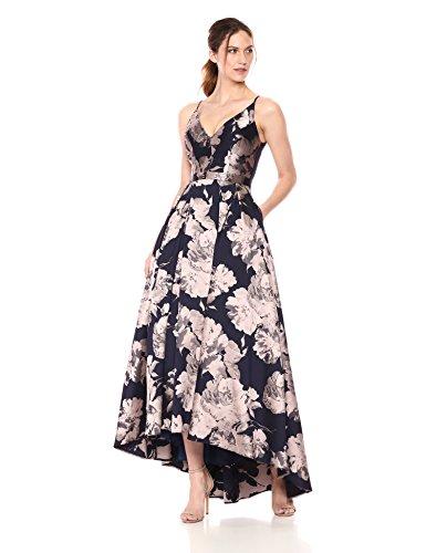 Xscape Women's Hi-Lo Brocade Dress, Navy/Blush, 14
