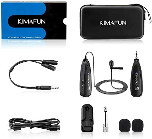 Wireless Microphone System,KIMAFUN 2.4G Wireless Lavalier Microphone with Lavalier Lapel Mics,Wireless Transmitter & Receiver for Computer,Speaker,Phone,Camera,Teaching and Public Speaking,G130