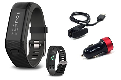 Garmin-Approach-X40-BlackGray-X-Large-Golf-GPS-Fitness-Band-BUNDLE-with-PlayBetter-USB-Car-Charge-Adapter
