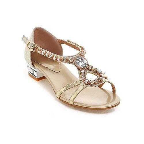 AmoonyFashion Women's Buckle Open Toe Low Heels Blend Materials Parent Solid Sandals B01I0XI7U8 Parent Materials 025bef