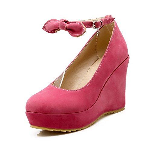 Solida Alti Delle Pompe Toe Imitati shoes Tacchi Rosered Chiuso Donne Rotonda Scamosciata Allhqfashion Fibbia xFUrqP0wIU