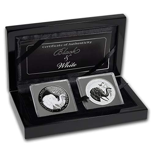 DE 2018 Somalia 2-Coin 1 oz Silver Elephant Black & White Set Brilliant Uncirculated (Coin Elephant Set)