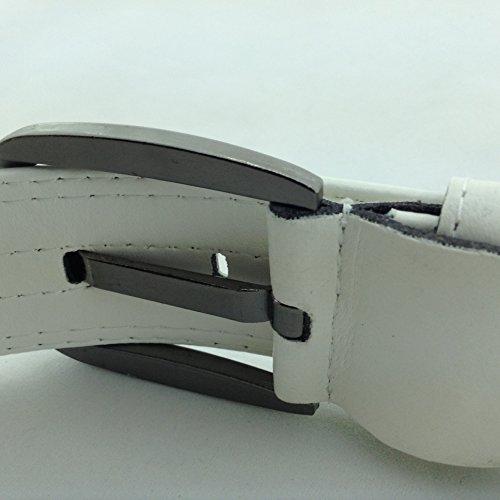 ベルト トリコロール PU レザー 3色 ライン 赤 白 青 カジュアル ゴルフ バックル メンズ