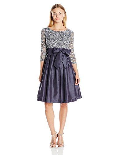 Jessica Howard Women\'s Plus Size Petite 3/4 Sleeve Tie Waist Dress with  Pleated Skirt