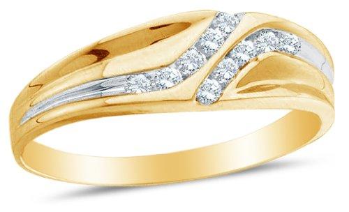Size 9 - 10k Yellow Gold Diamond Mens Wedding Ring Band (0.12 cttw.)
