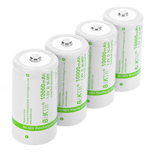 BAKTH Upgraded 10000mAh D Size High Performance NiMH Pre-Charged Low Self-Discharge Rechargeable Batteries for Household Devices (4 Pack)