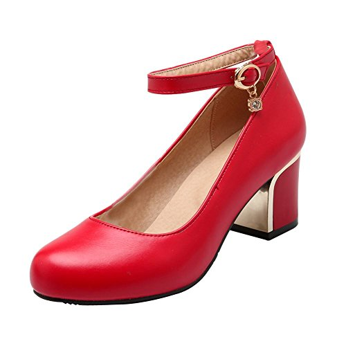Mee Shoes Sexy High-heel Block-heel PU Leather Mary Jane Shoes Red nEvIGNmcov