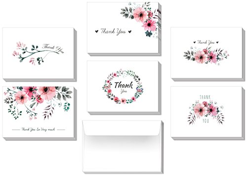 36 Thank You Greeting Cards Box Set- 6 Pink Floral Design - Blank Inside - with 38 White Envelopes - 4.875×3.5 inches (folded)