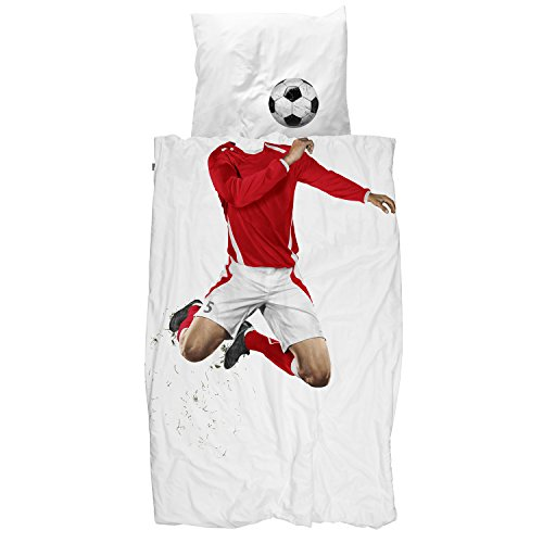 Twin Duvet Cover and Pillowcase Set for Kids - SNURK 100% Cotton Soft Cover for Your Little One - Soccer Champ and Ball Duvet Cover and Pillowcase - Red