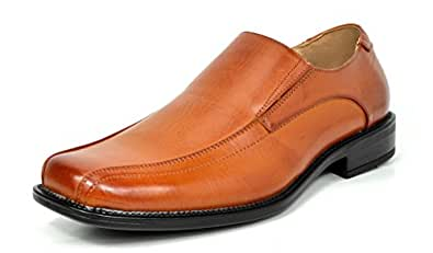 Bruno MARC STATE-01 Men's Formal Loafers Stretch Oxfords Slip On Leather Lining Square Tip Modern Dress Shoes BROWN SIZE 6.5