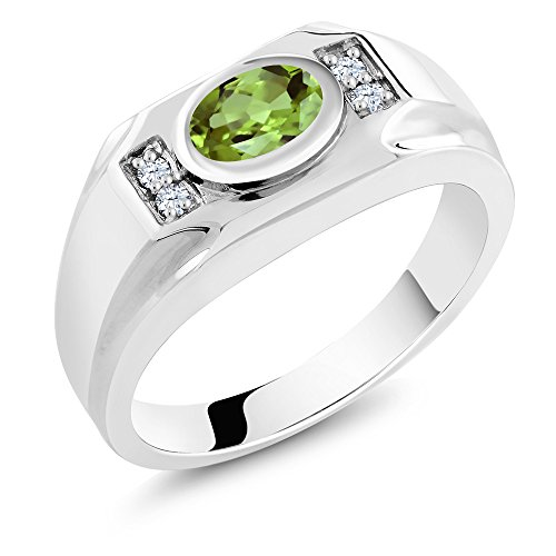 Sterling Silver Genuine Green Peridot & White Created Sapphire Men's Ring (1.49 cttw, Available in size 7, 8, 9, 10, 11, 12, 13)