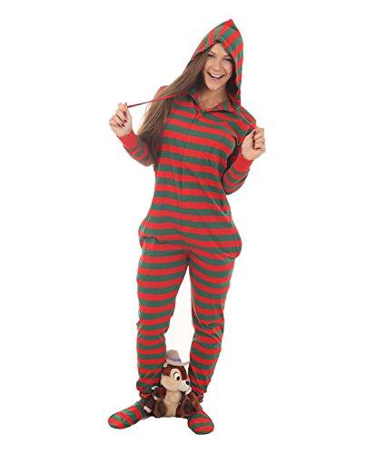 Erwachsenenstrampler Schlafoverall Onesie Pyjamas Ganzkörperschlafanzug MIT Füßen und Kapuze 'ELFIE' Rot-Grün XS-XXL