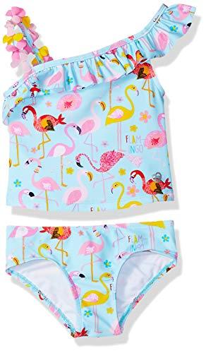 Skechers Baby Girls 2-Piece Bikini Swimsuit Bathingsuit, Turquoise Flamingo, 24 Months