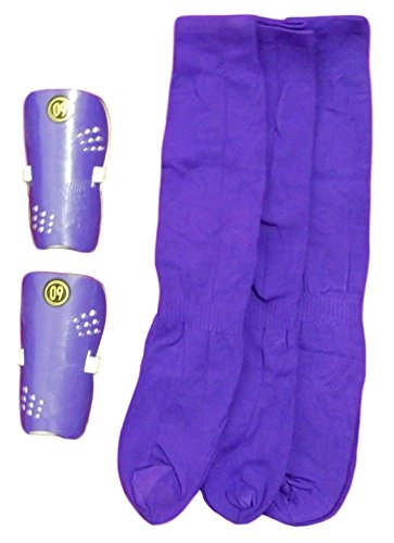 Pair Shin Guards Clothing - Unisex Soccer Sports Team Socks, For Youth (3 Pack) and a pair of gift shin guard (Purple)