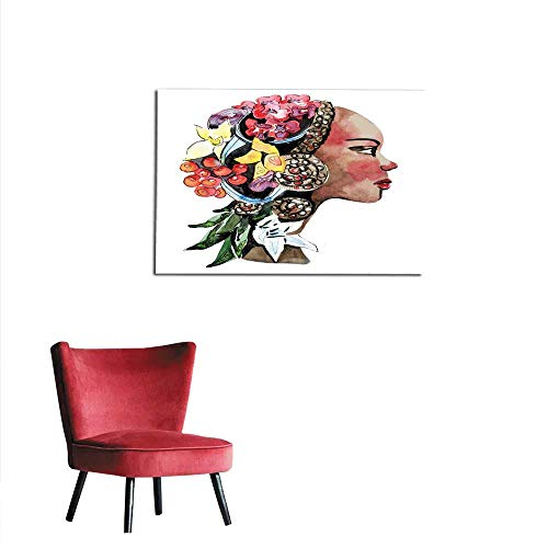 homehot Wall Sticker Decals Watercolor Black Woman African American Woman Mural 36