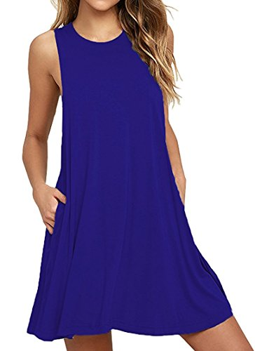 HAOMEILI Women's Sleeveless Pockets Casual Swing T-Shirt Summer Dresses M Royal Blue ()