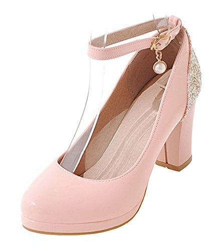 donna paillettes open toe tacchi alti con plateau cinturino fibbia alla caviglia