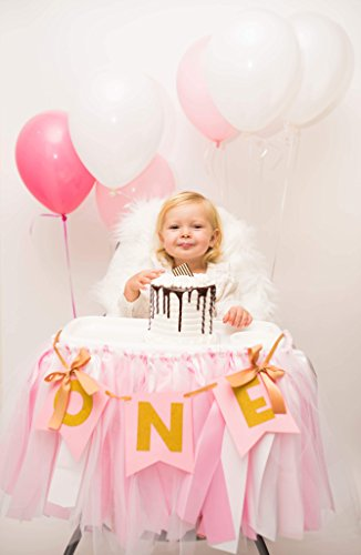 Eva's Perfection Birthday High Chair Tutu Skirt Premium Quality Pink Tulle White Gold 36x13 inches Banner ONE Included Hand Made Custom Self Adhesive Strips