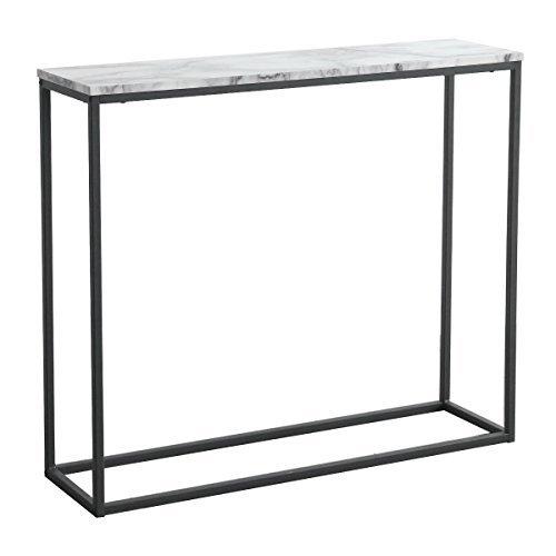 Console Table Black (Tilly Lin Modern Accent Faux Marble Console Table, Black Metal Frame, for Hallway Entryway Living room, Entrance Hall Furniture, Carrara)