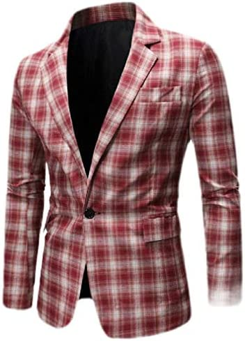 [해외]Wofupowga Mens Notched Lapel Plaid Blazer Jacket Retro Checkered Sport Coats One Button / Wofupowga Mens Notched Lapel Plaid Blazer Jacket Retro Checkered Sport Coats One Button