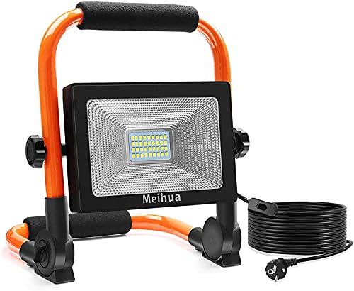 MEIHUA 30W LED Baustrahler 3400LM LED Strahler IP66 Wasserdicht Arbeitsleuchte 3.5M Kabel Flutlicht LED Fluter mit…