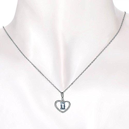 Hutang solide Or blanc 18ct aigue-marine naturelle et cœur de diamant Clou Pendentif et collier pour femme Diamond-jewelry
