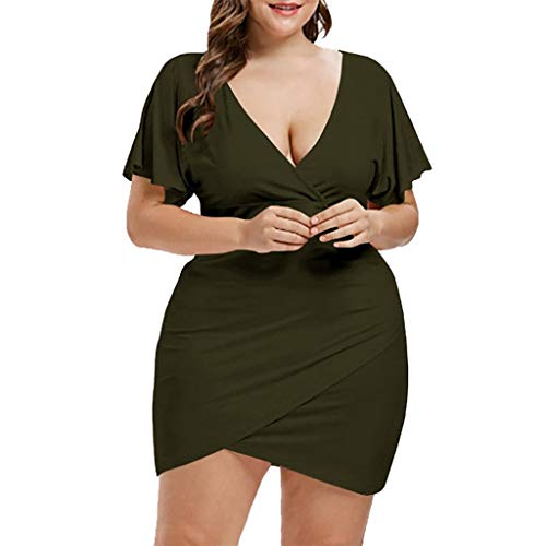 CCatyam Plus Size Dresses for Women, Skirt V-Neck Solid Loose Mini Casual Sexy Party Fashion Army Green