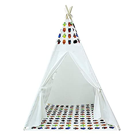 Yifi-Tek Canvas Teepee Tent for Kids With Floor Mat and Carrying Bag (White) - Tek Floor Mat