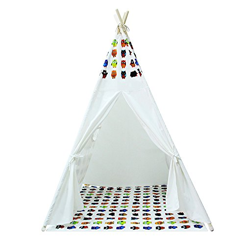 Yifi-Tek Canvas Teepee Tent for Kids With Floor Mat and Carrying Bag (White)