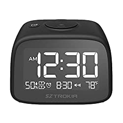 Sztrokia Alarm Clock, 2-Port USB Charging Digital Clock, Bedside Table Clock with Thermometer, Hygrometer, Snooze Function, Volume Adjustable