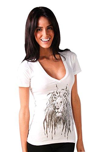Cooyah Lion Face Sparkle Rasta Dreadlock Ladies T-shirt