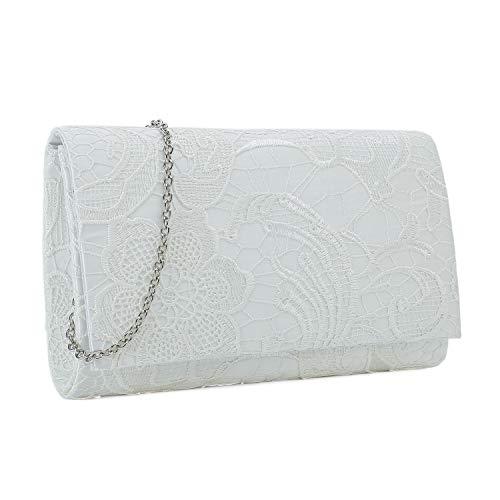 (Charming Tailor Lace Formal Bag Elegant Wedding Clutch Purse Bridal Handbag for Women (White))