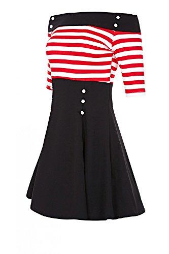Laeticia Dreams Damen Kleid Weiß/Rot Streifen
