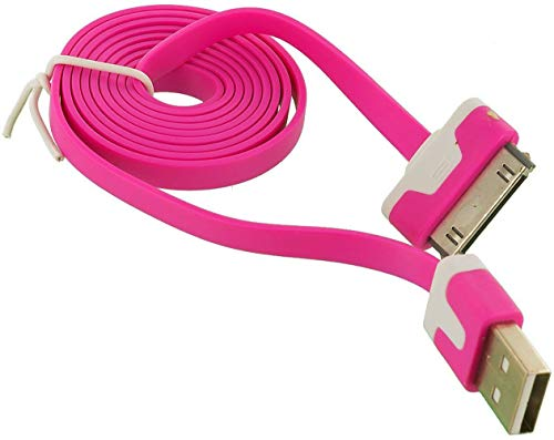 (NTJ 1m (3ft) Flat Noodle Tangle Free Usb to 30pin Data Sync Charger Charge Cable Cord Adapter for Ios 6 Ios7 Iphone 4 4s (10 Colors to Choose From) (HOT PINK))