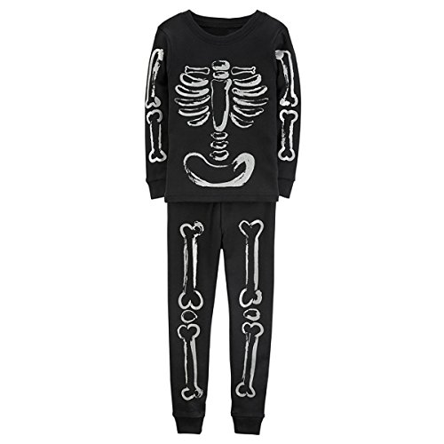 Kids Boys Skeleton Bones Costume Cotton Pajamas Clothes Set Black]()