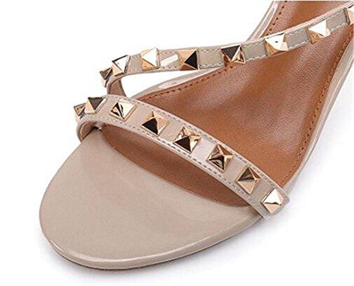 YEEY Sandalias remaches de verano sandalias abiertas para mujeres tobillo hebilla hueco zapatos de tacón alto Beige