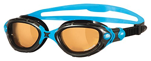 Zoggs Predator Flex Ultra Polarized 2.0 Swimming Goggles No Leaking Anti Fog UV Protection Triathlon Black-Blue/Bronze (Goggles Predator)