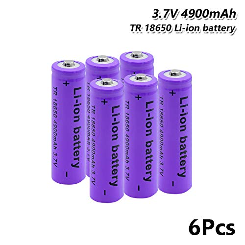 6X 18650 Battery 3.7v 4900mah Rechargeable for headlamp led Torch Flashlight
